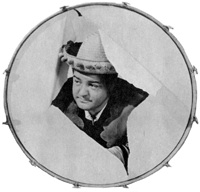 Lou Costello - breaking through a drum in Rio Rita