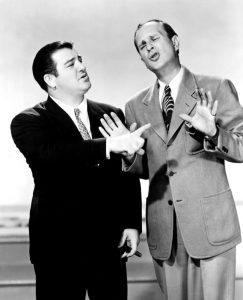 Lou Costello talking to Bud Abbott in One Night in the Tropics