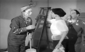 Bud Abbott gets slapped by the lady who's skirt Lou Costello unwittingly grabbed